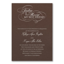 Married Today Invitation - Mocha Shimmer