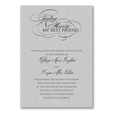 Married Today Invitation - Silver Shimmer