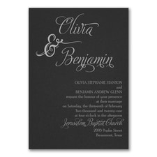 Love and Romance Invitation - Black