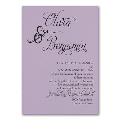 Love and Romance Invitation - Lavender