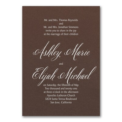 Regal Type Invitation - Mocha Shimmer