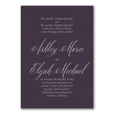 Regal Type Invitation - Raisin Texture
