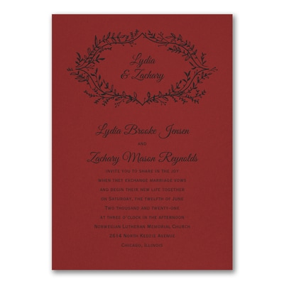 Rustic Greenery Invitation - Claret