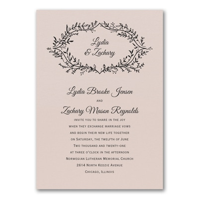 Rustic Greenery Invitation - Pastel Coral Shimmer