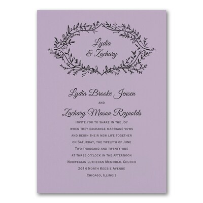 Rustic Greenery Invitation - Lavender