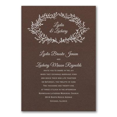 Rustic Greenery Invitation - Mocha Shimmer