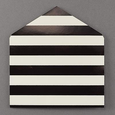 Black Foil Stripe Jumbo Liner - Ecru