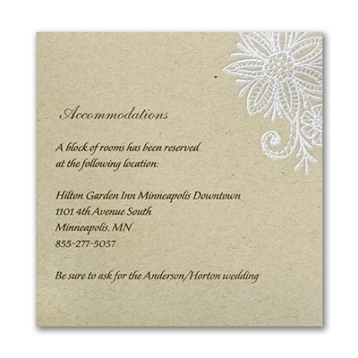 Lacy Blooms Accommodation Card