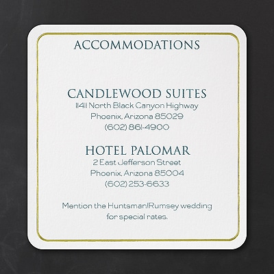 Classic Pineapple - Accommodation Card