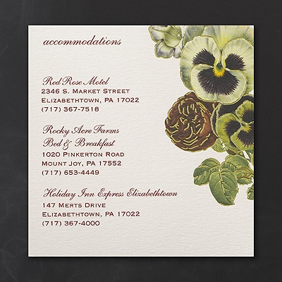 Vintage Blossoms - Accommodation Card