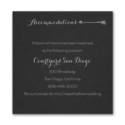Tribute to Love - Accommodation Card - Black