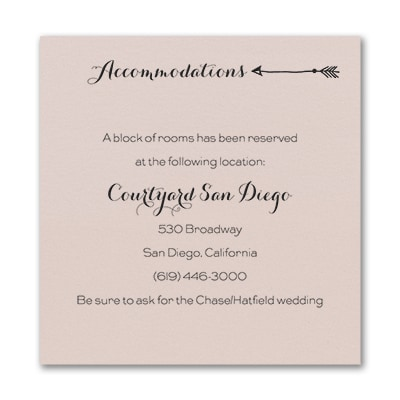 Tribute to Love - Accommodation Card - Pastel Coral Shimmer