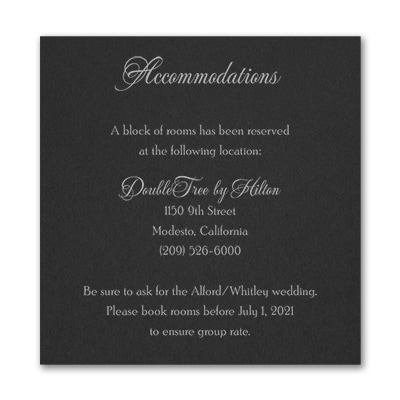 Timeless Sophistication - Accommodation Card - Black
