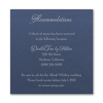 Timeless Sophistication Accommodation Card - Sapphire Shimmer