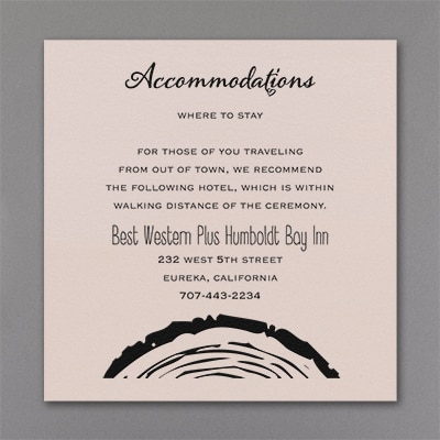 Rustic Knot - Accommodation Card - Pastel Coral Shimmer