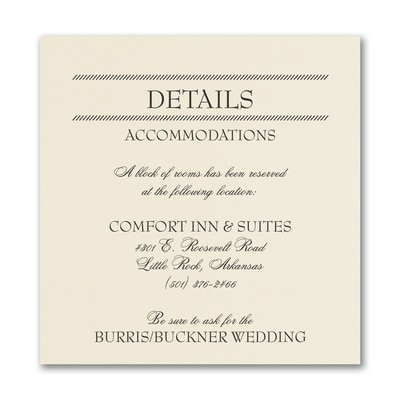 Modern Celebration Accommodation Card - Ecru
