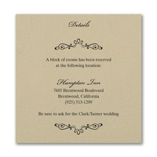 Wedding Bliss Accommodation Card - Gold Shimmer