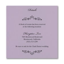 Wedding Bliss Accommodation Card - Lavender