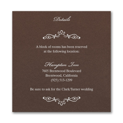 Wedding Bliss Accommodation Card - Mocha Shimmer