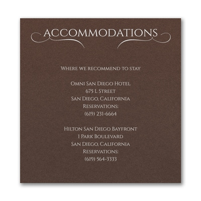 Married Today Accommodation Card - Mocha Shimmer