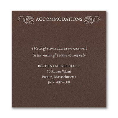 Opulent Flourish Accommodation Card - Mocha Shimmer