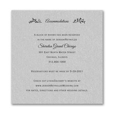 Rustic Greenery Accommodation Card - Silver Shimmer