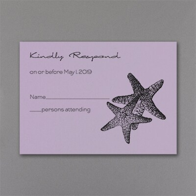 Seaside Duet - Response Card and Envelope - Lavender