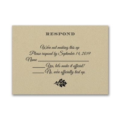 Endearing Romance - Response Card and Envelope - Gold Shimmer