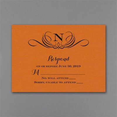 Preferential Design - Response Card and Envelope - Orange Shimmer