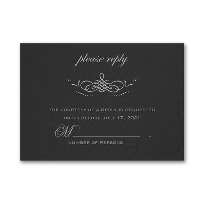 Beautiful Crest Response Card and Envelope - Black