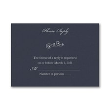 Wedding Bliss Response Card and Envelope - Navy