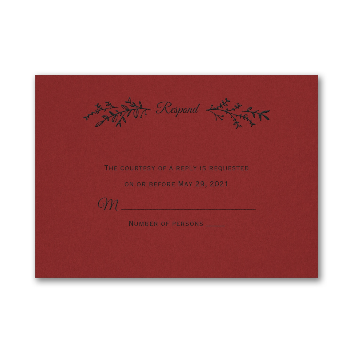 Rustic Greenery Response Card and Envelope - Claret > RSVP Cards ...