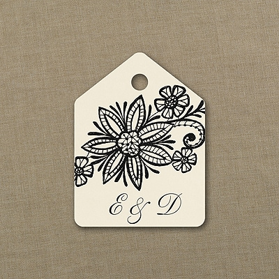 Lacy Blooms - Favor Tag - Ecru