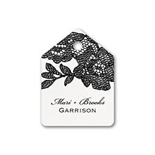 Lace Flowers - Favor Tag - White