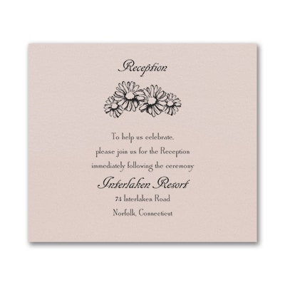 Country Daisies - Reception Card - Pastel Coral Shimmer