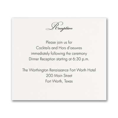 French Expressions - Reception Card - White