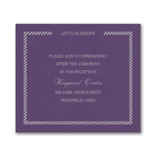Border and Stripes Reception Card - Purple Shimmer