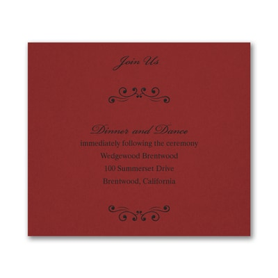 Wedding Bliss Reception Card - Claret