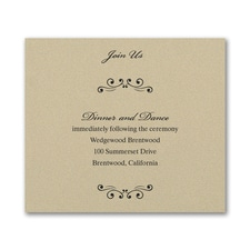 Wedding Bliss Reception Card - Gold Shimmer