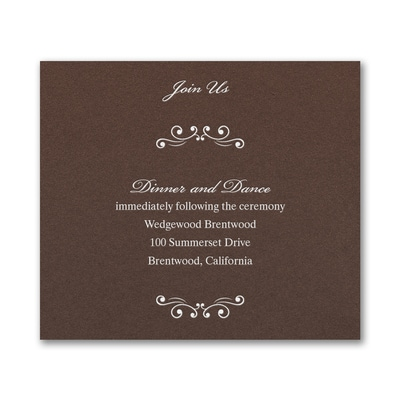 Wedding Bliss Reception Card - Mocha Shimmer
