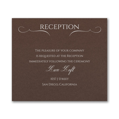 Married Today Reception Card - Mocha Shimmer
