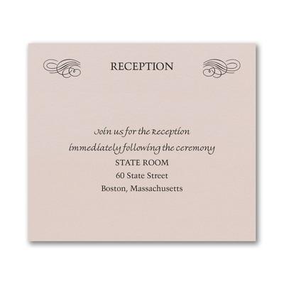 Opulent Flourish Reception Card - Pastel Coral Shimmer