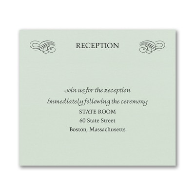Opulent Flourish Reception Card - Mint Shimmer