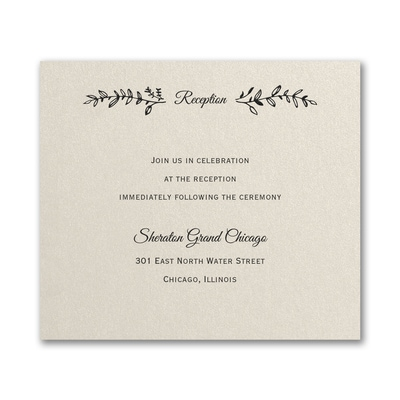 Rustic Greenery Reception Card - Ecru Shimmer
