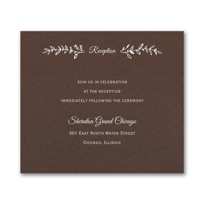 Rustic Greenery Reception Card - Mocha Shimmer