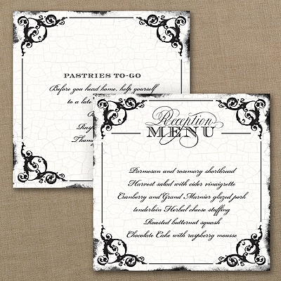 Antique Filigree Frame Square Menu
