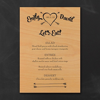 Tribute to Love Wood Menu