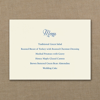 Menu Card - Horizontal - Ecru