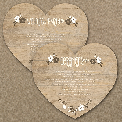 Wood Grain Floral Heart Program Card