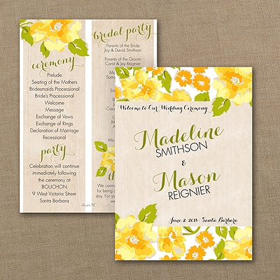 Wild Rose Program Card - Marigold